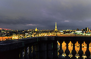 France. Paris. elevated view.The Eiffel tower ,  the invalides view from St Germain L'auxerrois church bell tower(1st)