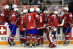 Norway team has Time out at ice-hockey match Latvia vs Norway at Qualifying round Group F of IIHF WC 2008 in Halifax, on May 11, 2008 in Metro Center, Halifax, Canada. (Photo by Vid Ponikvar / Sportal Images)