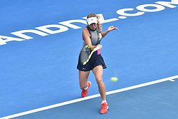 January 6, 2018 - Auckland, Auckland, New Zealand - Caroline Wozniacki of Denmark plays a forehand in her Quarter-final match against Sofia Kenin of USA during the WTA Women's Tournament at ASB Centre Count in Auckland, New Zealand on Jan 6, 2018. She defeats Sofia Kenin in three set clash to advance to the Semi-final. (Credit Image: © Shirley Kwok/Pacific Press via ZUMA Wire)