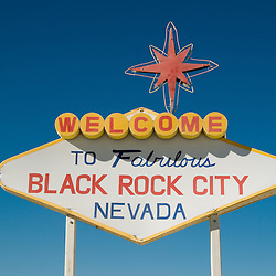 Aug. 28 2008 - Black Rock City, Nevada, USA - An art installation parodying the famous Las Vegas city sign during the Burning Man arts and culture festival Thursday, Aug. 28, 2008, in Black Rock City in the Black Rock Desert near Gerlach, Nev. (Credit Image: © David Calvert/ZUMA Press)