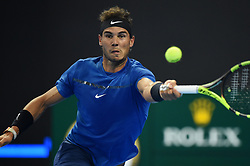 BEIJING, Oct. 7, 2017  Rafael Nadal of Spain returns the ball during the men's singles semifinal match against Grigor Dimitrov of Bulgaria at the China Open tennis tournament in Beijing on Oct. 7, 2017. Rafael Nadal won 2-1.  wll) (Credit Image: © Ju Huanzong/Xinhua via ZUMA Wire)