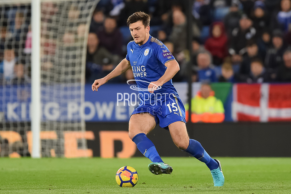 Leicester City defender Harry Maguire (15) during the Premier League match between Leicester City and Manchester City at the King Power Stadium, Leicester, England on 18 November 2017. Photo by Jon Hobley.