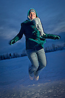 UAA psychology student, Brenna McLaughin, at Westchester Lagoon, Anchorage