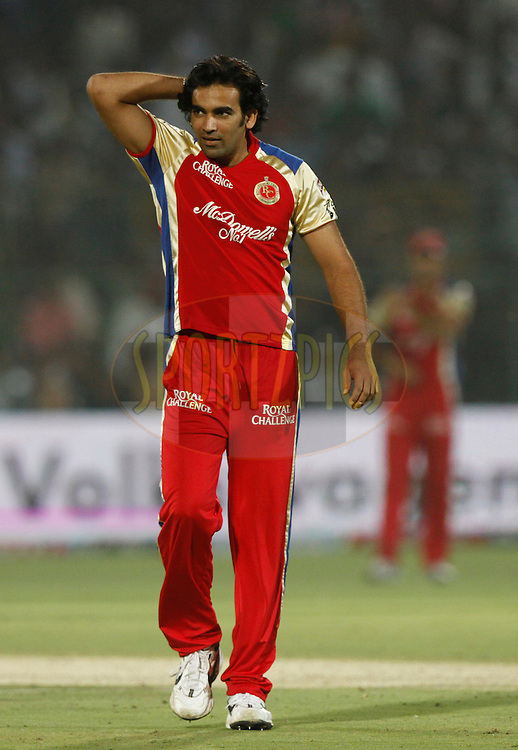 Royal Challengers Bangalore player Zaheer Khan reacts during match 30 of the the Indian Premier League ( IPL) 2012  between The Rajasthan Royals and the Royal Challengers Bangalore held at the Sawai Mansingh Stadium in Jaipur on the 23rd April 2012..Photo by Pankaj Nangia/IPL/SPORTZPICS