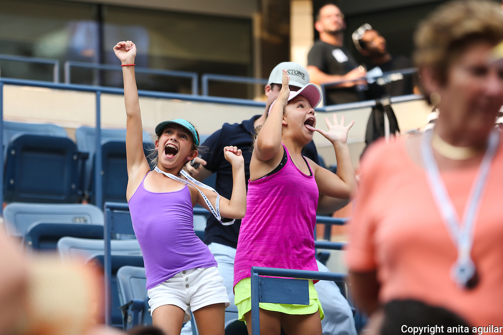 Young fans enjoying the Andy Murray/Adrian Mannarino match. <br />