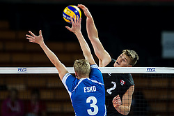11.09.2014, Centennial Hall, Breslau, POL, FIVB WM, Kanada vs Finnland, 2. Runde, Gruppe F, im Bild Mikko Esko finland #3 John Gordon Perrin canada #2 // Mikko Esko finland #3 John Gordon Perrin canada #2 during the FIVB Volleyball Men's World Championships 2nd Round Pool F Match beween Canada and Finland at the Centennial Hall in Breslau, Poland on 2014/09/11. EXPA Pictures © 2014, PhotoCredit: EXPA/ Newspix/ Sebastian Borowski<br /> <br /> *****ATTENTION - for AUT, SLO, CRO, SRB, BIH, MAZ, TUR, SUI, SWE only*****