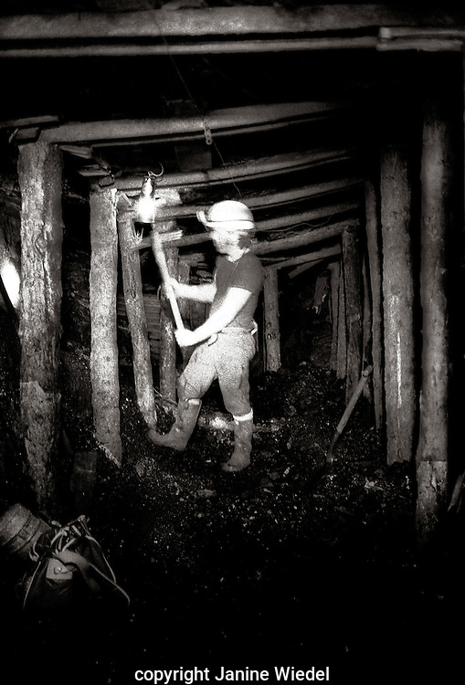 Drilling at the face small independent Footeral mine near Stoke on Trent Staffordshire