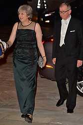 © Licensed to London News Pictures. 13/11/2017. London, UK. British Prime Minister THERESA MAY and husband PHILLIP MAY arrive for the annual Lord Mayor's Banquet at Guildhall. Photo credit: Ray Tang/LNP