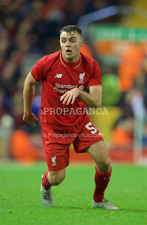 LIVERPOOL, ENGLAND - Wednesday, October 28, 2015: Liverpool's Connor Randall in action against AFC Bournemouth during the Football League Cup 4th Round match at Anfield. (Pic by David Rawcliffe/Propaganda)