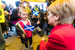 Nicola Sturgeon joins the SNP's candidate for East Lothian George Kerevan on the campaign trail in Musselburgh tomorrow. <br /> <br /> The First Minister commented that a vote for the SNP is vital to ensure that Scotland's jobs and industries are protected. An SNP victory in the General Election will give the party a mandate to demand that the Scottish Government is at the top table in Brexit negotiations, standing up for the interests of businesses and for workers rights.<br /> <br /> Pictured: Nicola Sturgeon and three year old Evie Allis Fraser