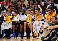 Feb. 10, 2011; Phoenix, AZ, USA; Golden State Warriors guard Monta Ellis (left) ,  guard Stephen Curry , forward David Lee ,  against the Phoenix Suns at the US Airways Center. The Suns defeated the Warriors 112 - 88. Mandatory Credit: Jennifer Stewart-US PRESSWIRE