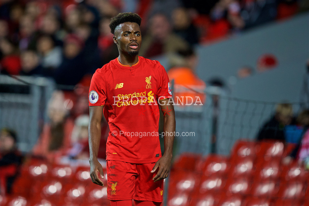 LIVERPOOL, ENGLAND - Monday, January 16, 2017: Liverpool's Madger Gomes in action against Manchester United during the FA Premier League 2 Division 1 Under-23 match at Anfield. (Pic by David Rawcliffe/Propaganda)
