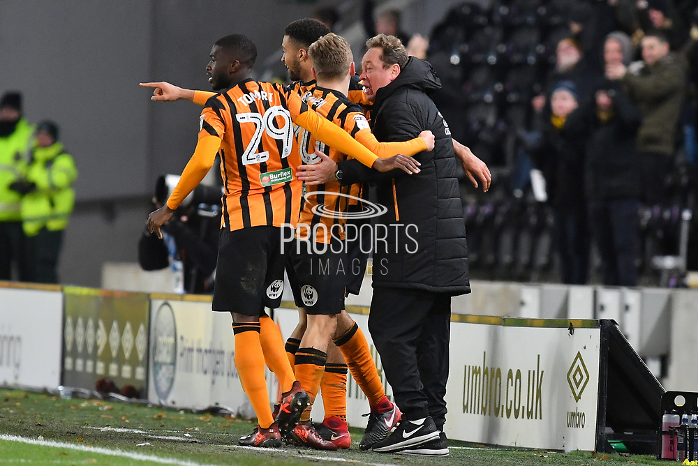 Hull City celebrate with Hull City manager Leonid Slutsky for the goal scored by Hull City forward Jarrod Bowen (20) to 2-0 during the EFL Sky Bet Championship match between Hull City and Bristol City at the KCOM Stadium, Kingston upon Hull, England on 25 November 2017. Photo by Ian Lyall.