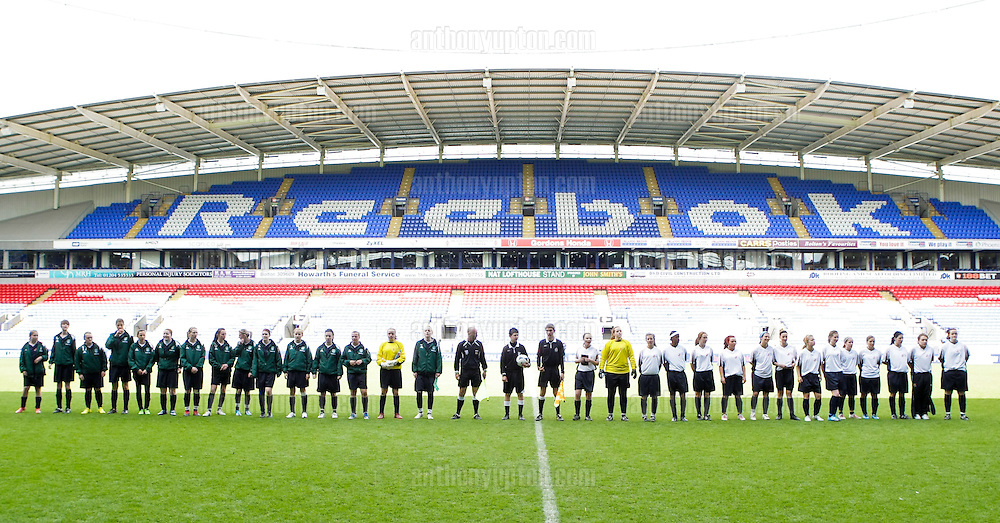 20100516                 Copyright image 2010©.Hibs Girls U16 v West Ham U16.Tesco Football Cup Final at the Reebok Stadium in Bolton .Mandatory Credit Ant Upton otherwise additional charges will apply..For photographic enquiries please call Anthony Upton 07973 830 517 or email info@anthonyupton.com .This image is copyright Anthony Upton 2010©..This image has been supplied by Anthony Upton and must be credited Anthony Upton. The author is asserting his full Moral rights in relation to the publication of this image. All rights reserved. Rights for onward transmission of any image or file is not granted or implied. Changing or deleting Copyright information is illegal as specified in the Copyright, Design and Patents Act 1988. If you are in any way unsure of your right to publish this image please contact Anthony Upton on +44(0)7973 830 517 or email: