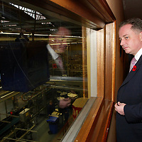 FREE TO USE PIC....<br />First Minister Jack McConnell who officially opened the new £3m bottling line at The Edrington Groups HQ in Glasgow..He is pictured looking down onto the bottling line..<br />See press release from Edrington Group: Contact Sharon McLaughlin on 07879 694962<br />Copyright Perthshire Picture Agency<br />Tel: 01738 623350  Mobile: 07990 594431