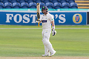 50 - David Lloyd acknowledges the crowd on reaching 50during the Specsavers County Champ Div 2 match between Glamorgan County Cricket Club and Leicestershire County Cricket Club at the SWALEC Stadium, Cardiff, United Kingdom on 16 September 2019.