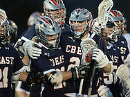 HORSHAM, PA - MARCH 31:  Central Bucks East lacrosse players celebrate after defeating Hatboro Horsham at Hatboro Horsham High School March 31, 2014 in Horsham, Pennsylvania. (Photo by William Thomas Cain/Cain Images)