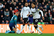 Derby County midfielder Duane Holmes wins the ball during the EFL Sky Bet Championship match between Derby County and Hull City at the Pride Park, Derby, England on 18 January 2020.