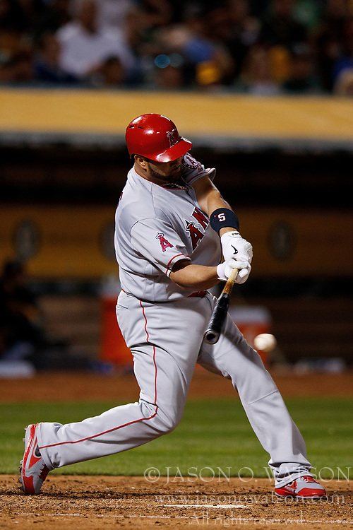 OAKLAND, CA - APRIL 04:  Albert Pujols #5 of the Los Angeles Angels of Anaheim at bat against the Oakland Athletics during the fifth inning at the Oakland Coliseum on April 4, 2017 in Oakland, California. The Los Angeles Angels of Anaheim defeated the Oakland Athletics 7-6. (Photo by Jason O. Watson/Getty Images) *** Local Caption *** Albert Pujols