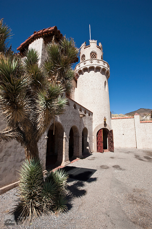 Scotty's Castle tower and Joshua Tree - Death Valley National Park, California