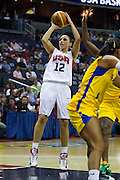 Team USA guard Diana Taurasi pulls up for a jumper during the 2012 USA Women's Basketball Team versus Brazil at Verizon Center in Washington, DC.  USA won 99-67.  July 16, 2012  (Photo by Mark W. Sutton)