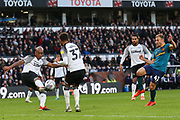 Andre Wisdom' clears the ball during the EFL Sky Bet Championship match between Derby County and Hull City at the Pride Park, Derby, England on 18 January 2020.