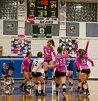 Interlakes takes the lead during the third game over Interlakes as the two undefeated teams match up Wednesday evening in NHIAA Division III volleyball.   (Karen Bobotas/for the Laconia Daily Sun)