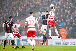 John Marquis of Doncaster Rovers beats Darragh Lenihan of Blackburn Rovers to a header - Mandatory by-line: Robbie Stephenson/JMP - 24/04/2018 - FOOTBALL - The Keepmoat Stadium - Doncaster, England - Doncaster Rovers v Blackburn Rovers - Sky Bet League One