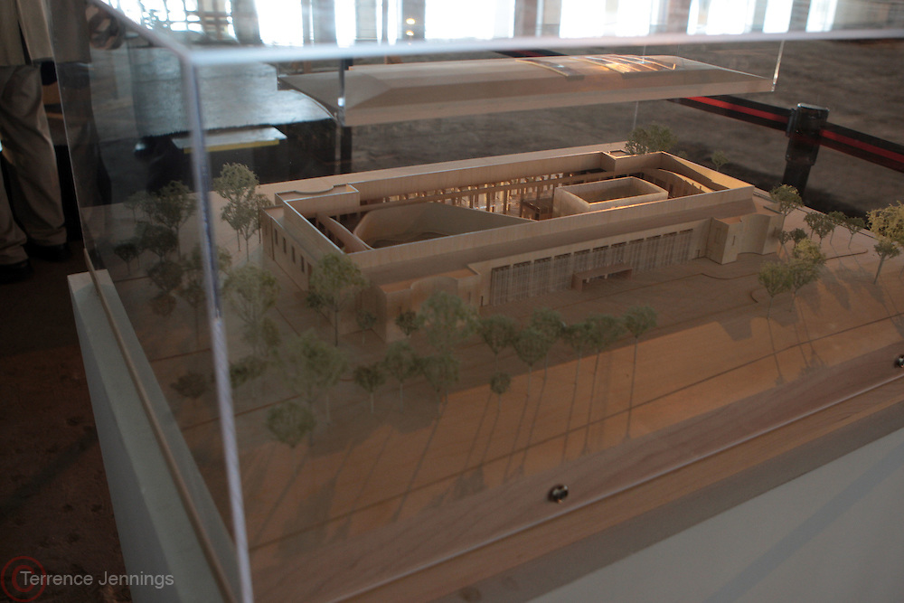 12 April 2011- Queens, New York- Model of proposed new Queens Museum at The Queens Museum of Art Groundbreaking Ceremony held at the Queens Museum of Art on April 12, 2011 in Flushing Meadows, Queens. Photo Credit: Terrence Jennings