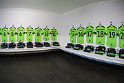 The away dressing room during the EFL Sky Bet League 2 match between Cambridge United and Forest Green Rovers at the Cambs Glass Stadium, Cambridge, England on 2 October 2018.