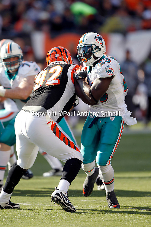 Miami Dolphins running back Ronnie Brown (23) works his way around Cincinnati Bengals defensive end Frostee Rucker (92) during the NFL week 8 football game on Sunday, October 31, 2010 in Cincinnati, Ohio. The Dolphins won the game 22-14. (©Paul Anthony Spinelli)