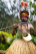 Female SingSing dancer, motion blur, Enga Province, Papua New Guinea