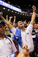 John Paonessa of Orlando celebrates the Orlando Magic win in Game 3 of the NBA Finals Orlando Magic vs the Los Angeles Lakers, Orlando, Tuesday, June 9, 2009 (Roberto Gonzalez)