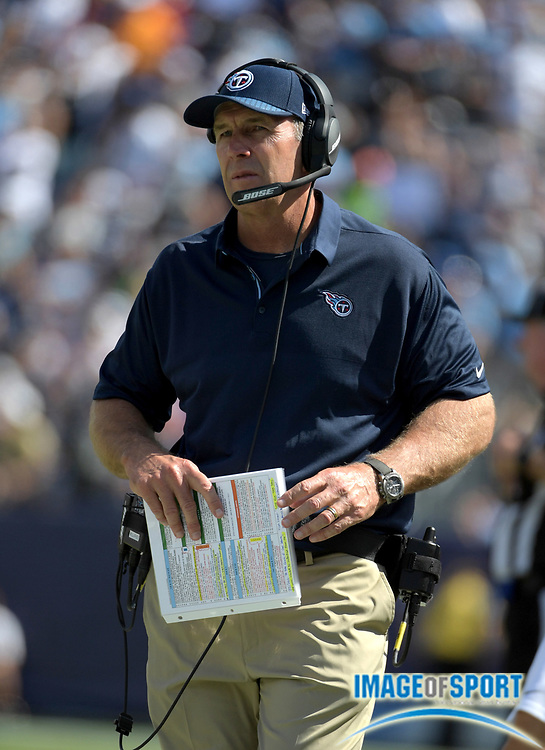 Sep 10, 2017; Nashville, TN, USA; Tennessee Titans head coach Mike Mularkey reacts during a NFL football game against the Oakland Raiders at Nissan Stadium. The Raiders defeated the Titans 26-16.
