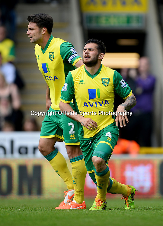 20 April 2014 - Barclays Premier League - Norwich City v Liverpool - Bradley Johnson of Norwich City reacts after deflecting a shot from Raheem Sterling of Liverpool into the net - Photo: Marc Atkins / Offside.