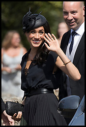 August 4, 2018 - Frensham, London, United Kingdom - Image licensed to i-Images Picture Agency. 04/08/2018. Frensham , United Kingdom. The Duchess of Sussex arriving for the wedding of Charlie Van Straubenzee and Daisy Jenks at Frensham, Surrey, United Kingdom. (Credit Image: © Stephen Lock/i-Images via ZUMA Press)