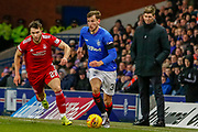 Borna Barisic runs away from Connor McLennan of Aberdeen FC in front of Rangers Manager Steven Gerrard  during the William Hill Scottish Cup quarter final replay match between Rangers and Aberdeen at Ibrox, Glasgow, Scotland on 12 March 2019.