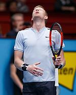 KYLE EDMUND (GBR)  reagiert enttaeuscht,Aerger,Frust,Emotion,<br /> <br /> Tennis - ERSTE BANK OPEN 2017 - ATP 500 -  Stadthalle - Wien -  - Oesterreich  - 28 October 2017. <br /> © Juergen Hasenkopf