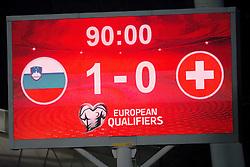 Scoreboard during football match between National teams of Slovenia and Switzerland at Round 2 of Euro 2016 Qualifications, on October 9, 2014 in Stadium Ljudski vrt, Maribor, Slovenia. Photo by Matic Klansek Velej / Sportida.com