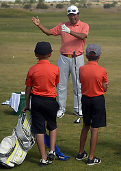 July 2, 2018 - U.S. - SPORTS -- Notah Begay III talks during a clinic at the Santa Ana Golf Course during at the New Mexico Grande Slam, a golf charity event that raises money for New Mexico's children, on Monday, July 2, 2018. (Credit Image: © Greg Sorber/Albuquerque Journal via ZUMA Wire)