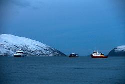 NORWAY TROMSO 5DEC15 - Whale spotting boats in a fjord near the arctic city of Tromso.<br /> <br /> jre/Photo by Jiri Rezac / Greenpeace<br /> <br /> © Jiri Rezac 2015