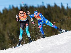 28.02.2019, Seefeld, AUT, FIS Weltmeisterschaften Ski Nordisch, Seefeld 2019, Langlauf, Damen, Staffel 4x5 km, im Bild v.l. Delphine Claudel (FRA), Elisa Brocard (ITA) // f.l. Delphine Claudel of France and Elisa Brocard of Italy during the ladie's Relay 4x5 km competition of the FIS Nordic Ski World Championships 2019. Seefeld, Austria on 2019/02/28. EXPA Pictures © 2019, PhotoCredit: EXPA/ Stefan Adelsberger