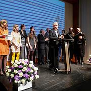 NLD/Rotterdam/20130209 - De Franse modeontwerper Jean Paul Gaultier opent zijn tentoonstelling in de Kunsthal Rotterdam, Jean Paul Gaultier spreekt de mederwerkers Kunsthal toe
