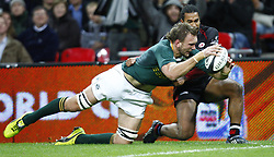 South Africa's Andries Bekker attempts a try during the Friendly match at Wembley Stadium, London.