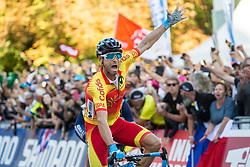 Arrival / Alejandro Valverde of Spain Celebration / at the Men Elite Road Race at 258.5km Race from Kufstein to Innsbruck 582m at the 91st UCI Road World Championships 2018 / RR / RWC / on September 30, 2018 in Innsbruck, Austria. Photo by Vid Ponikvar / Sportida