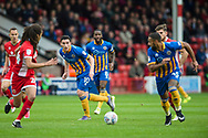Louis Dodds of Shrewsbury Town threads a pass to Stefan Payne of Shrewsbury Town during the EFL Sky Bet League 1 match between Walsall and Shrewsbury Town at the Banks's Stadium, Walsall, England on 7 October 2017. Photo by Darren Musgrove.