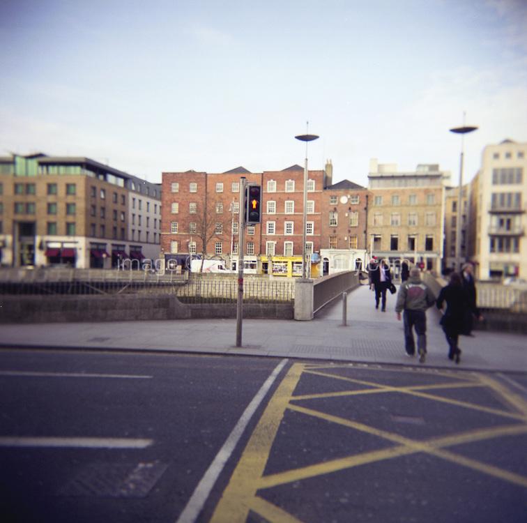 The new Liffey Pedestrian Bridge in Dublin Ireland
