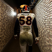 OAKLAND, CA - DECEMBER 24: Denver Broncos outside linebacker Von Miller (58) walks down the hallway during the regular season NFL football game against the Oakland Raiders on Monday, Dec. 24, 2018 at the Oakland-Alameda County Coliseum in Oakland, Calif. (Photo by Ric Tapia/Icon Sportswire)