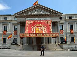 THEMENBILD - Madrid ist seit Jahrhunderten der geographische, politische und kulturelle Mittelpunkt Spaniens (siehe Kastilien) und der Sitz der spanischen Regierung. Hier residieren auch der König, ein katholischer Erzbischof sowie wichtige Verwaltungs- und Militärbehörden. Als Handels- und Finanzzentrum hat die Stadt nationale und internationale Bedeutung. Hier im Bild Koeniglicher Baldachin vor Parlamentsgebaeude zu Ehren der Kroenungsfeier von Koenig Felipe VI, Abgeordnetenhaus Congreso de los Diputados, Teil des Parlaments Cortes Generales // THEMATIC PACKAGES - Madrid is the capital and largest city of Spain. The population of the city is roughly 3.3 million and the entire population of the Madrid metropolitan area is calculated to be around 6.5 million. It is the third-largest city in the European Union, after London and Berlin, and its metropolitan area is the third-largest in the European Union after London and Paris. The city spans a total of 604.3 km2. EXPA Pictures © 2014, PhotoCredit: EXPA/ Eibner-Pressefoto/ Weber<br /> <br /> *****ATTENTION - OUT of GER*****