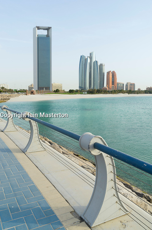 Waterfront promenade and skyline in Abu Dhabi United Arab Emirates